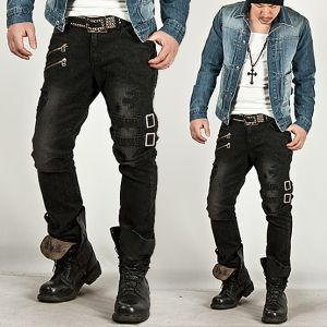 Bottoms :: Extreme Vintage Double Belt Accent Grunge Black Slim ...