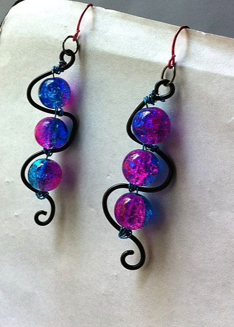 two toned pink and blue crackle glass squiggle  by BeadingByJenn, $8.00