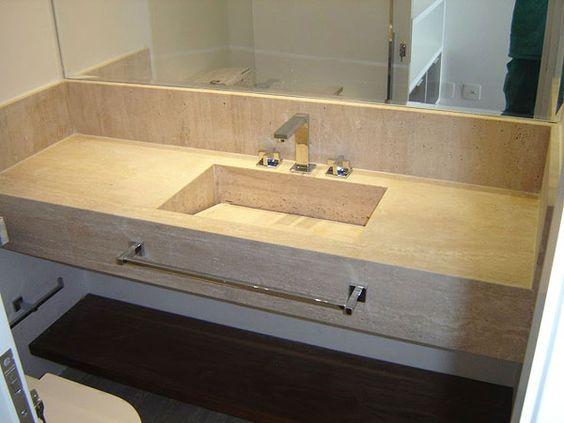 bancada em mármore travertino com saia para pia do banheiro  Pesquisa Google -> Pia De Banheiro Com Saia