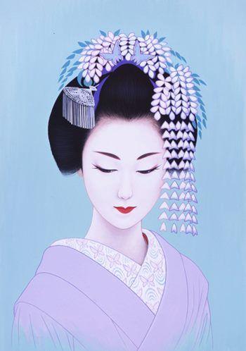 Ichiro TSURUTA, Japan Japanese woman with wisteria hat illustration #lilac