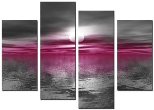 """Lynxart 4 Panel Total Size 92x70cm NEW MODERN CANVAS WALL ART ABSTRACT PICTURE PRINT MOUNTED LARGE 36"""" FUSHIA PINK: Amazon.co.uk: Kitchen & Home"""