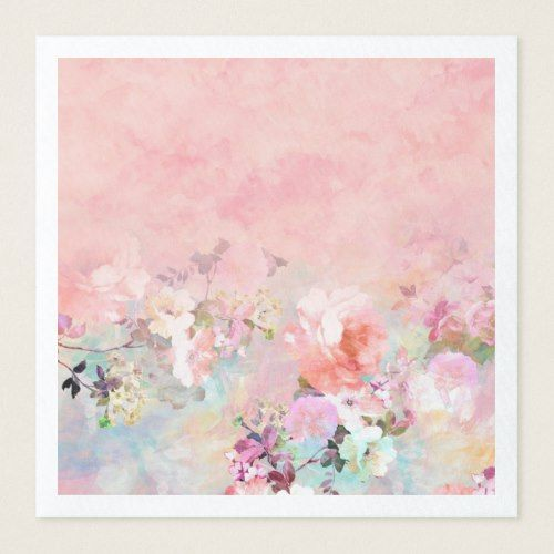 Modern Blush Watercolor Ombre Floral Watercolor Paper Dinner