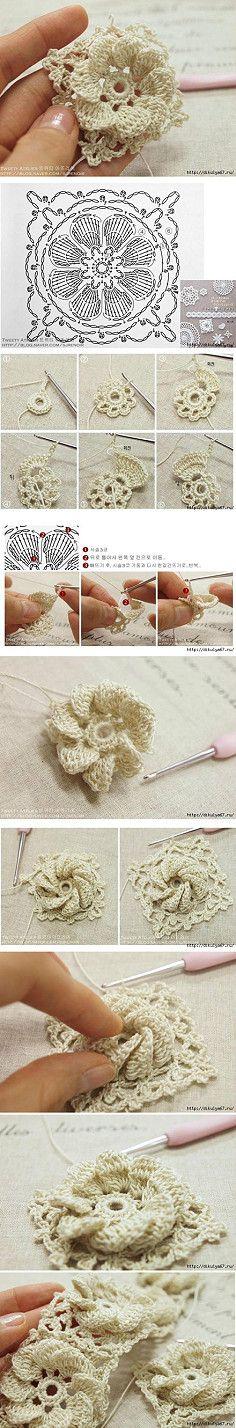 Crochet Conhecimento   vincos interessantes flor dimensional