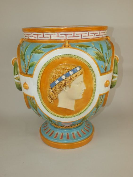 "Minton Majolica Continents jardinaire ""America"" & ""Africa"", 18"""