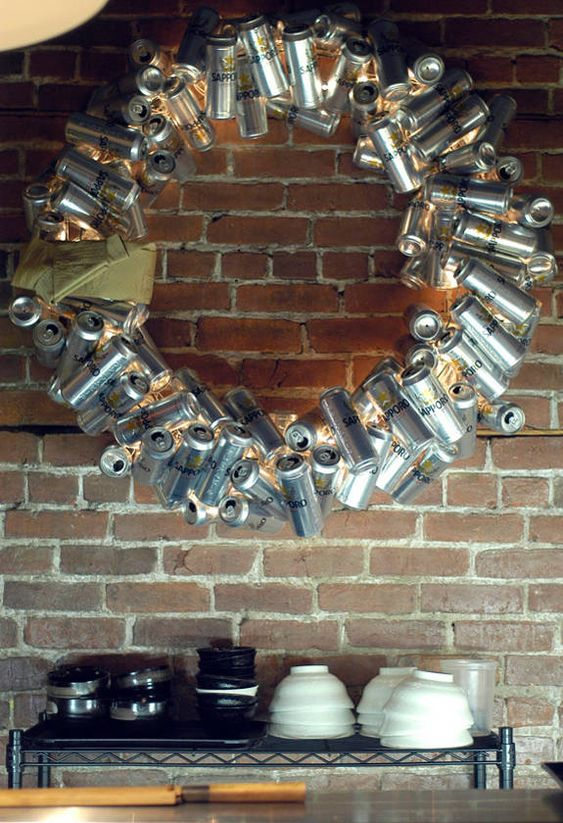 For everyone celebrating a redneck Christmas, I give you...the beercan wreath!