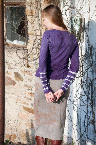Stripes to the Elbow Shibori Shirt by OneRoomFibers on Etsy