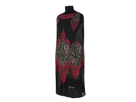 Shoe-Icons / Clothes / Black gauze knee-long dress, decorated with elaborate Indian style embroidery with strawberry and metallic colored
