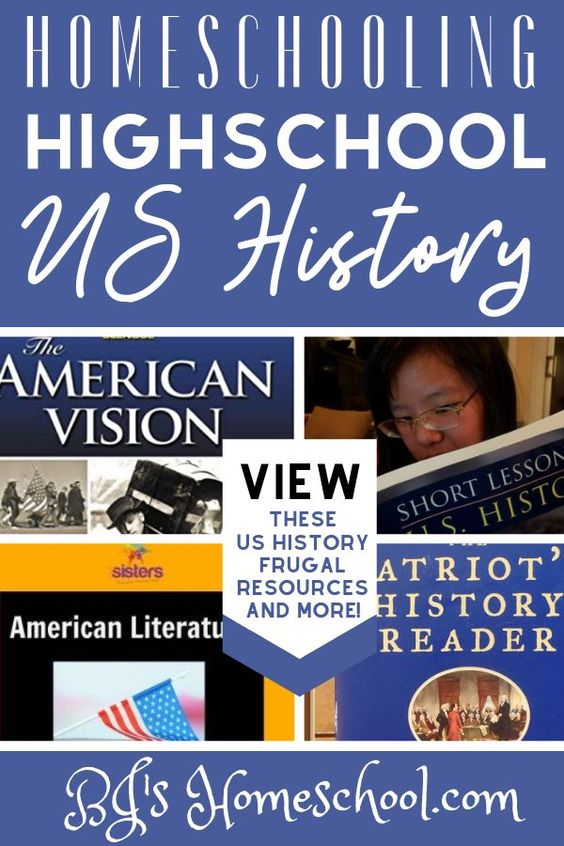 Homeschool high school American History frugal curriculum and resources. Including map work, living literature, original sources, art related to history and more. We even found some U.S. History videos for FREE. #homeschoolhighschool #ushistory