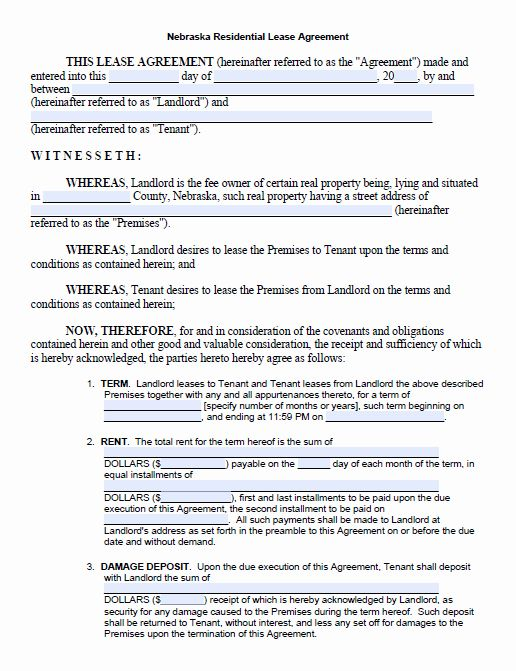 One Page Rental Agreement Beautiful Free Printable Nebraska Month To Month Rental Agr Lease Agreement Free Printable Rental Agreement Templates Lease Agreement