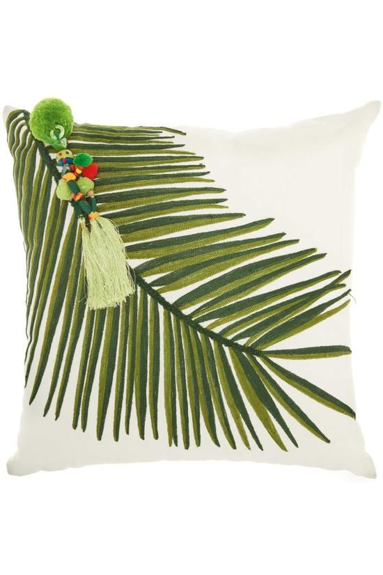 Tropical Leaf Pillow Palm Frond Throw Pillow Soft Surroundings Green Throw Pillows Floral Throw Pillows Square Throw Pillow