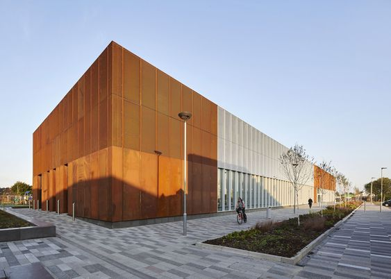 The oxidised steel surfaces of Hebburn Central community centre on the outskirts of Newcastle are influenced by the region's ship-building heritage