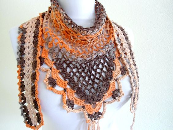 Crocheted Multi Color Bamboo Lace Scarf ,Holiday Accessories,gift,valentines day, winter trends, fashion, 2012. $29.99, via Etsy.