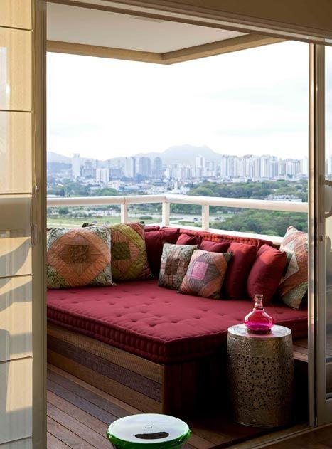decoração futon varanda: