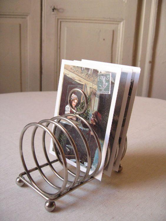 Porte toast en métal argenté pour 6 tranches / par LMfrenchyDeco