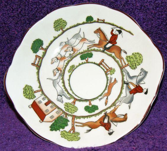 Coalport Hunting Scene Oval Bonbon Dish