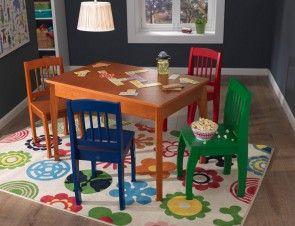 Honigfarbener Kindertisch mit 4 bunten Stühlen - KidKraft Tisch Set Modell Euro