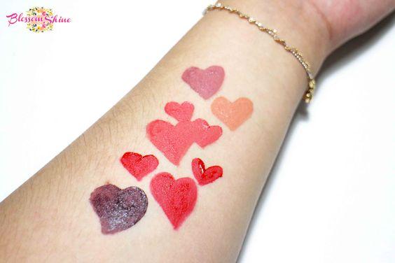 Hand Swatch (Top - Bottom): 07 Dusty Rose, 01 Peach Echo, 05 Peony, 09 Crimson Red & 08 Raisin