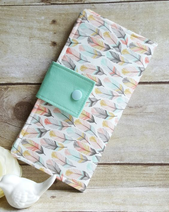 Soft feather print women's wallet, Slim bifold wallet, Clutch style wallet, Credit card money wallet, checkbook wallet, Handmade fabric by BirdsandBagz on Etsy