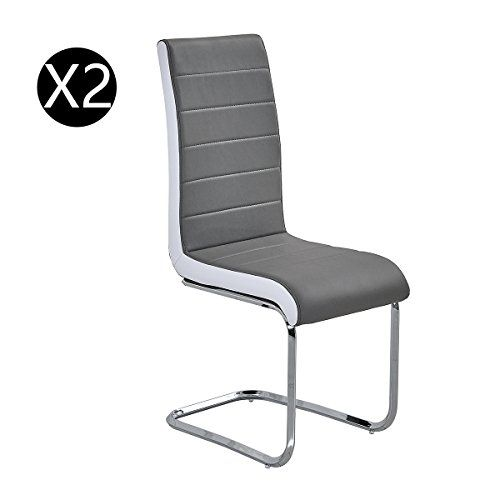 Premium Grey Leather Dining Chairs Padded High Back And Solid