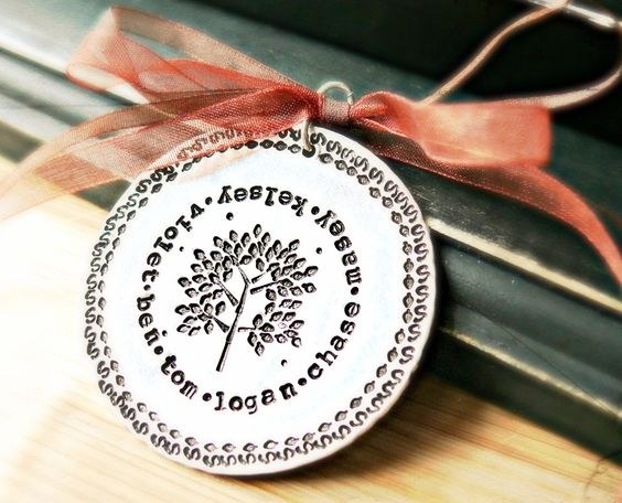 Family Tree Christmas Gift - Personalized Ornament - Hand Stamped Ornament. $50.00, via Etsy.