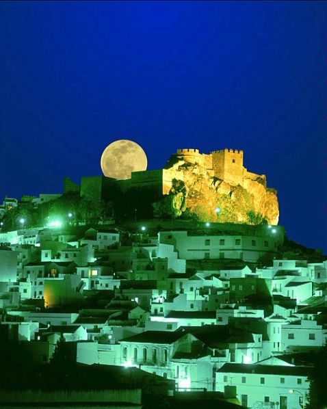 Moonrise over Salobrena, Costa del Sol, Spain