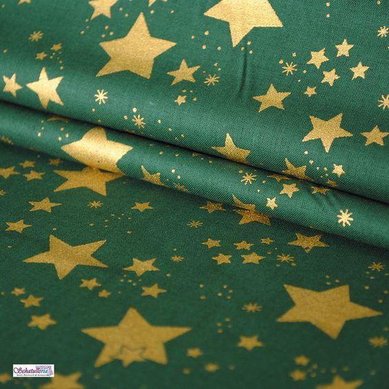 Stoffe gemustert - Weihnachtsstoffe Dunkelgrün goldene Sterne - ein Designerstück von Schatulleria-Ohrt bei DaWanda