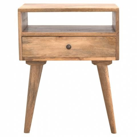 This Beautifully Designed Bedside Is Constructed From 100 Solid Mango Wood And Has A Fine Oak Ish Bedside Table Solid Wood Bedside Nordic Style Bedside Table