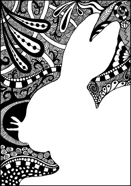 I love the idea of tangling the negative space. Zentangle ...