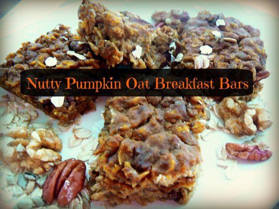 Sunday Breakfast -Nutty Pumpkin Oat Breakfast Bars