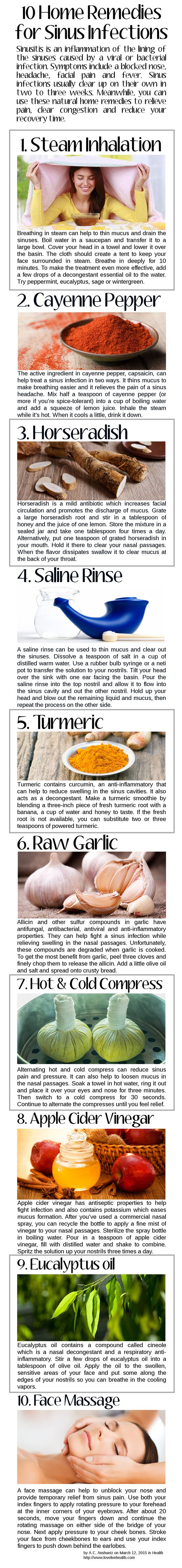Sinusitis is an inflammation of the lining of the sinuses caused by a viral or bacterial infection. Symptoms include a blocked nose, headache, facial pain and fever. Sinus infections usually clear up on their own in two to three weeks. Meanwhile, you can use these natural home remedies to relieve pain, clear congestion and reduce your recovery time.