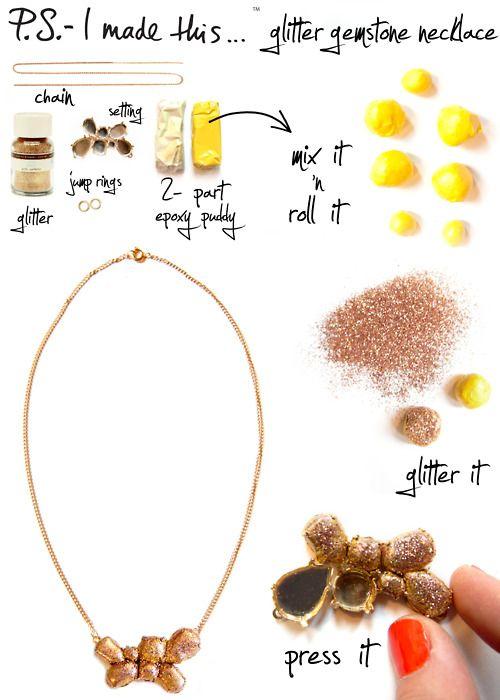 DIY Glitter Gemstone Necklace