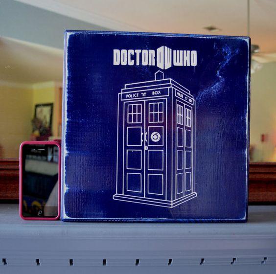 Doctor Who, Tardis, Geek, Custom Wood Sign, Home Decor. $25.00, via Etsy.