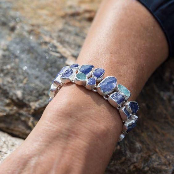 Tanzanite And Aquamarine Gemstone Chunky Sterling Silver Bracelet | Poppy Jewellery | Wolf & Badger