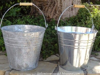 ... how to age shiny buckets - LittleMissMaggie: Making New Galvanized Buckets Look Old