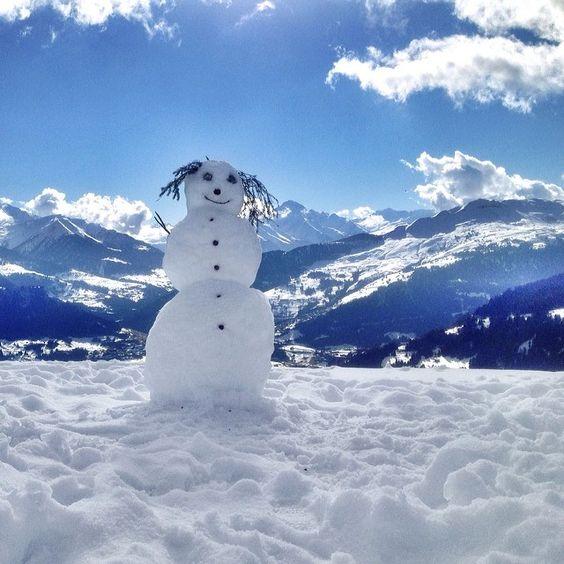 Smiling snowman. Films Laax, Schweiz Switzerland