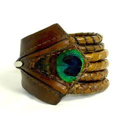 Jody Singleton leather peacock feather wrap bracelet
