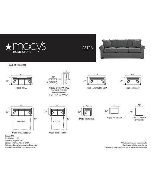 Macy S Astra Sofa Furniture Dimensions Chart Full Sleeper Sofa Macy Furniture Custom Sofa