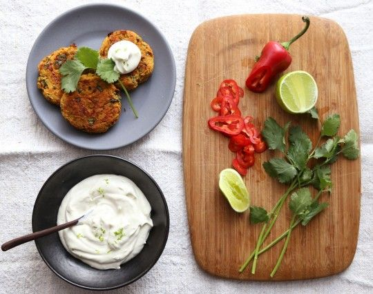 Sweet Potato Carrot cakes with Cilantro and Chili topped with Cashew Lime Sour Cream recipe from Coconut and Quinoa. Sounds absolutely wonderful...