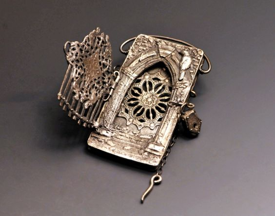 """Sanctuary Guardians Locket by Christi Anderson - """"This 3 way opening hand built locket is made entirely from PMC+. The front gate opens and locks closed with a tiny handmade padlock on a pin."""""""