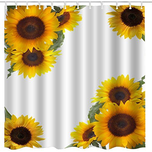 Broshan Spring Yellow Flower Blossom Sunflower Shower Curtain In