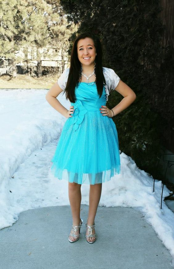 Modest blue semi formal sweethearts homecoming or prom dress ...