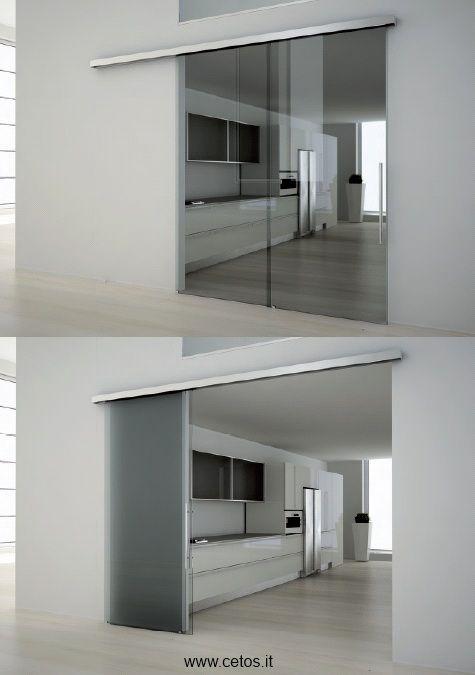 Porte scorrevoli a due ante tutto vetro  Porta cucina ...
