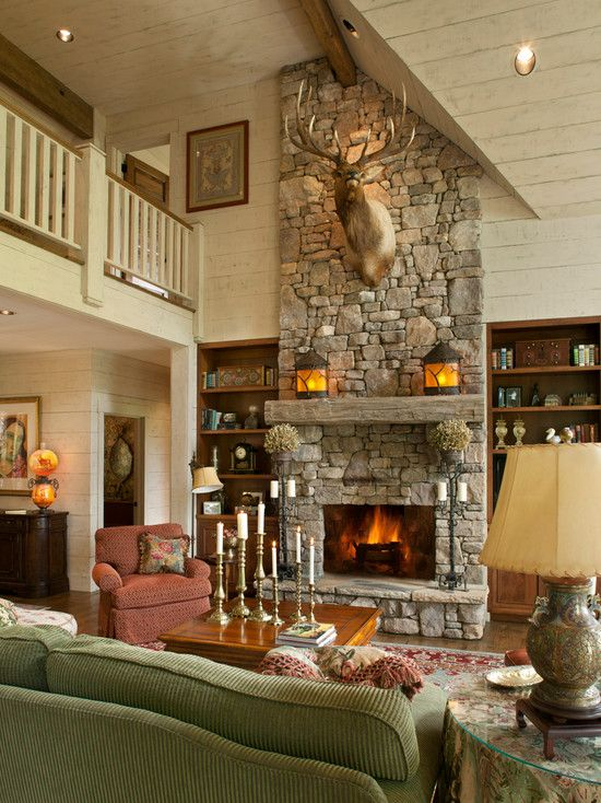 , Traditional Family Room With Charming Stones Fireplace Decorations Also  Natural Wooden Mantel Also Antique Lantern Design Also Real Wall Mount Deu2026 Nice Design