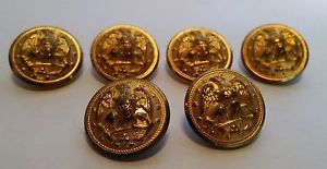 6 Vintage Waterbury Gold Colored Metal Eagle Buttons Military Style Very Nice | eBay