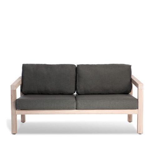 Shop Now Solid Teak Outdoor Sofa With Grey Cushions In Weatherproof Fabric Mix With Our Havana Cane Range Inspired By Grey Outdoor Furniture Sofa Furniture