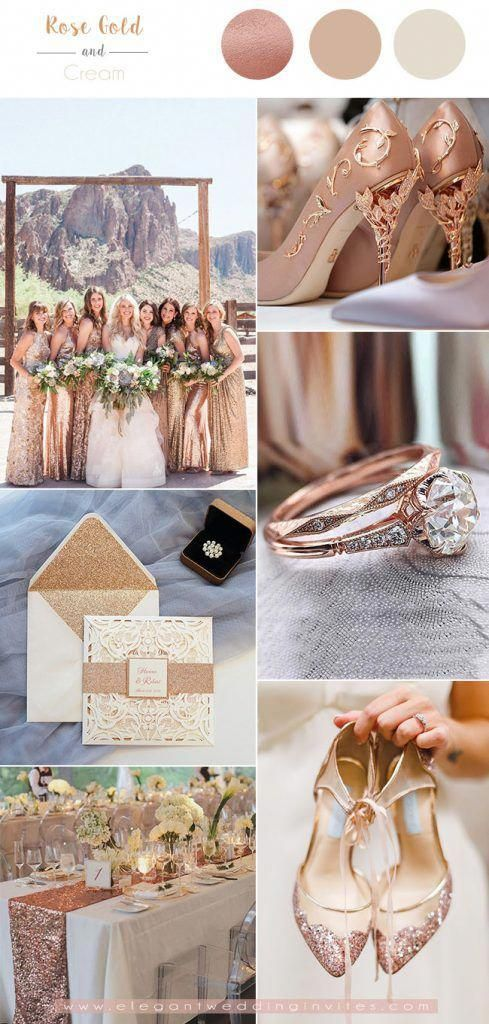 Luxurious Rose Gold And Cream White Wedding Color Combos Weddinginspiration Gold Wedding Decorations Wedding Rose Gold Theme Gold Wedding Colors