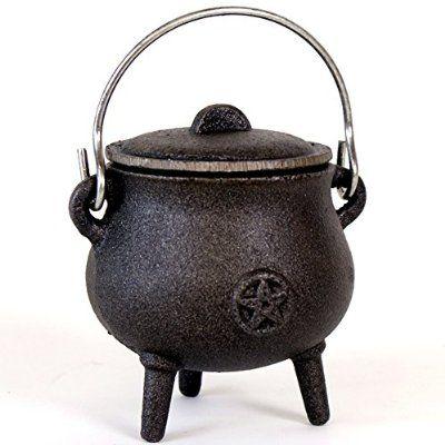 """Cast Iron Cauldron: 2 3/4"""" diameter Pentagram"""