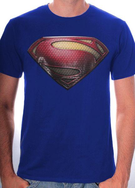 T-Shirt Superman Bleu Man of Steel Logo 3D - 19.99€ - #Logostore
