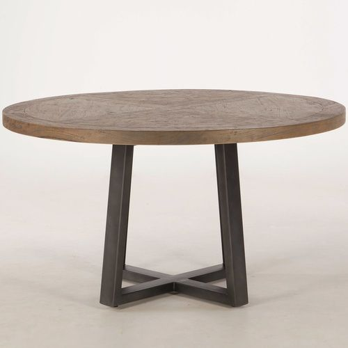 Long Beach Wood And Iron Round Dining Table 54 Round Wood