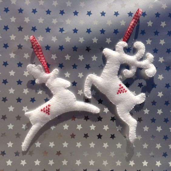 Felt Reindeer Hanging Decorations in White Set of by BellaandRoo